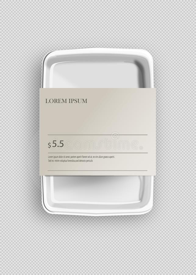 White Mockup Empty Blank Styrofoam Plastic Food Tray Container With Lable. Illustration Isolated On Gray Background. Mock Up vector illustration