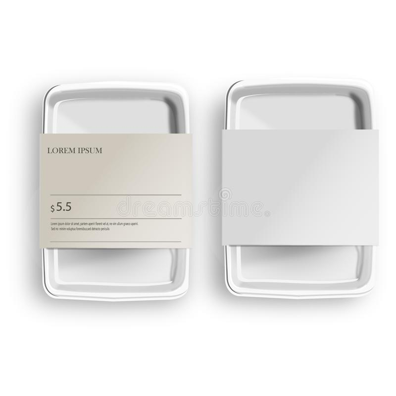 White Mockup Empty Blank Styrofoam Plastic Food Tray Container With Lable. Illustration Isolated On Gray Background. Mock Up. Template royalty free illustration