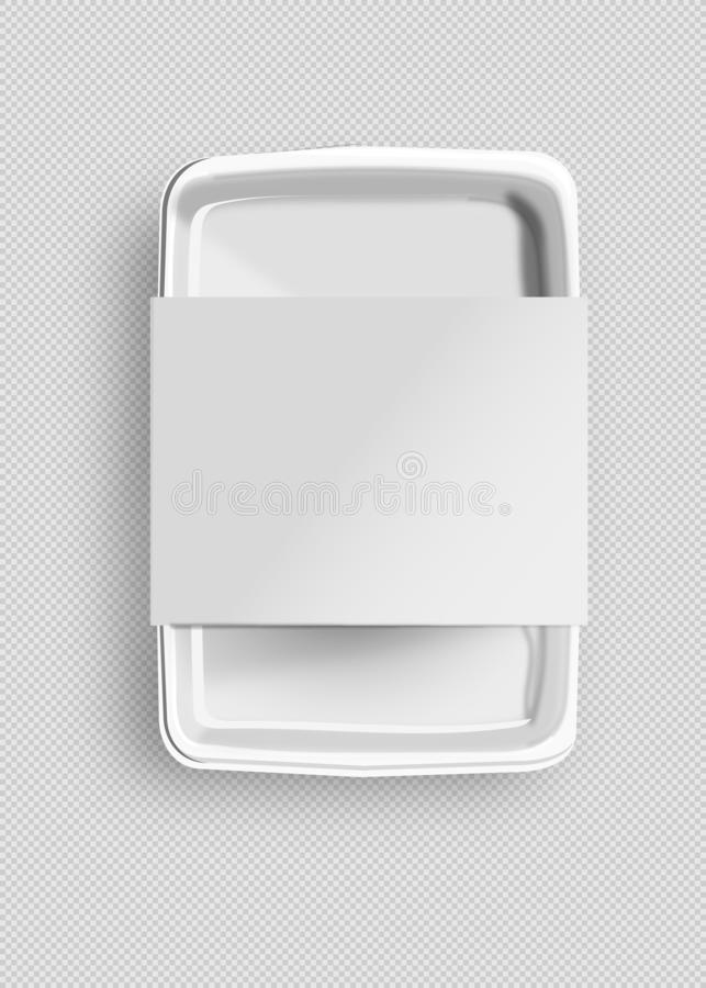 White Mockup Empty Blank Styrofoam Plastic Food Tray Container With Lable. Illustration Isolated On Gray Background. Mock Up royalty free illustration