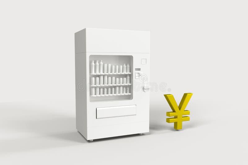 The white model of vending machine and money model, 3d rendering vector illustration
