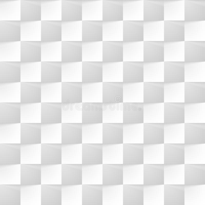 White modern background of abstract 3d cubes with shadow. Seamless pattern texture of square geometric gray wall stock illustration