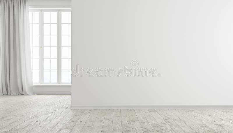 White modern bright empty room interior with window, wood floor and curtain. royalty free illustration