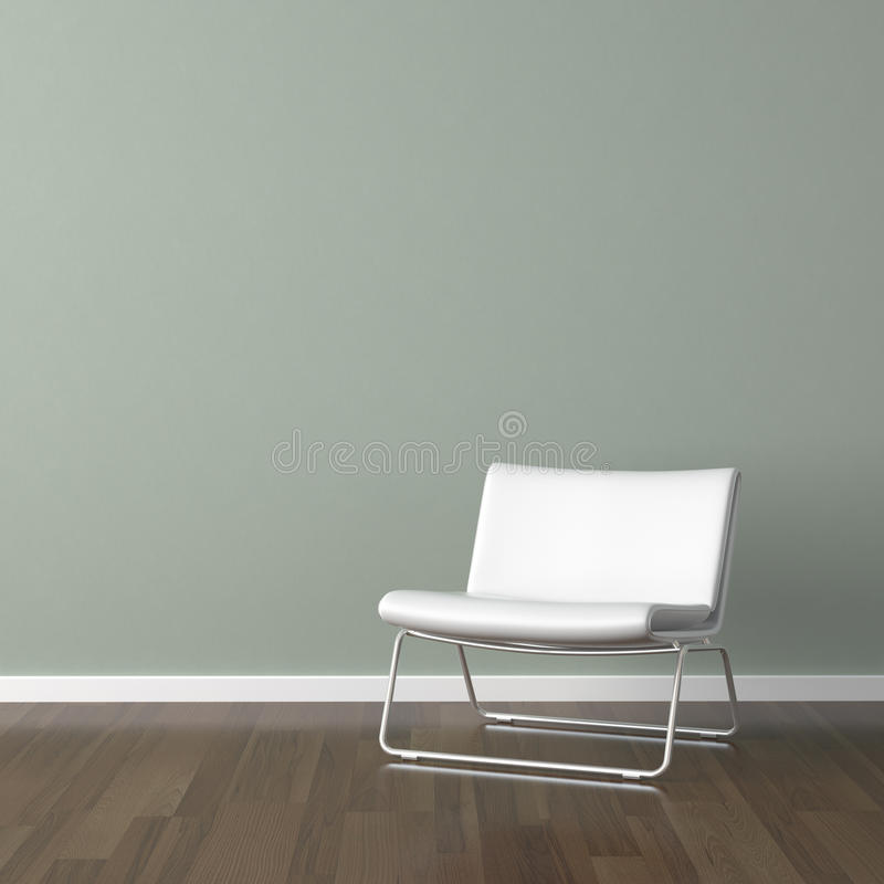 White modern chair on green wall. Interior design scene with white modern chair on pale green wall with copy space stock illustration