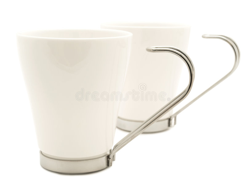 White modern cups royalty free stock photography