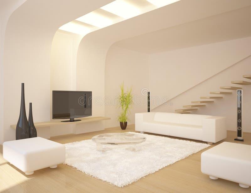 White modern design interior vector illustration