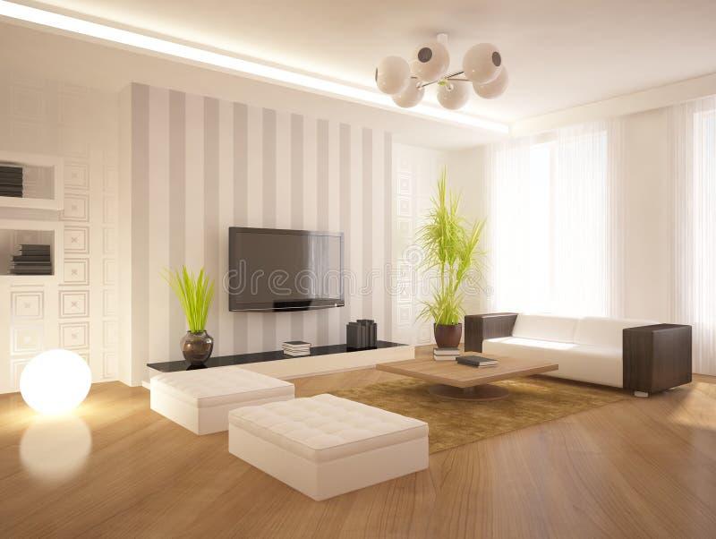 White modern interior stock illustration