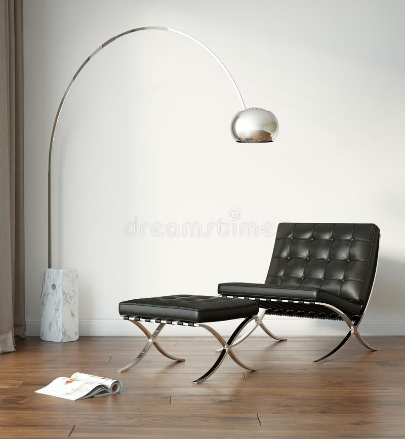 White modern interior with black chair and a floor lamp stock image