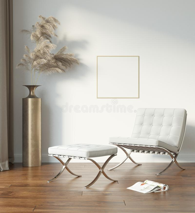 White modern interior with white chair and pampas grass with blank frame stock images