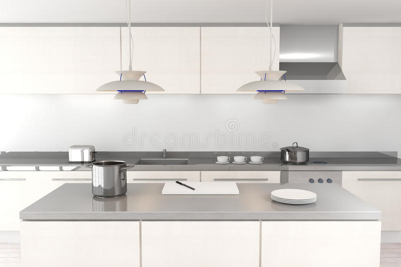 White modern kitchen stock illustration