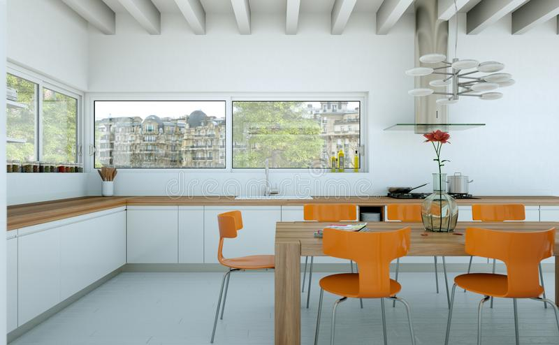 White modern kitchen in a house with orange chairs and wooden table. 3d Illustration of white modern kitchen in a house with orange chairs and wooden table vector illustration
