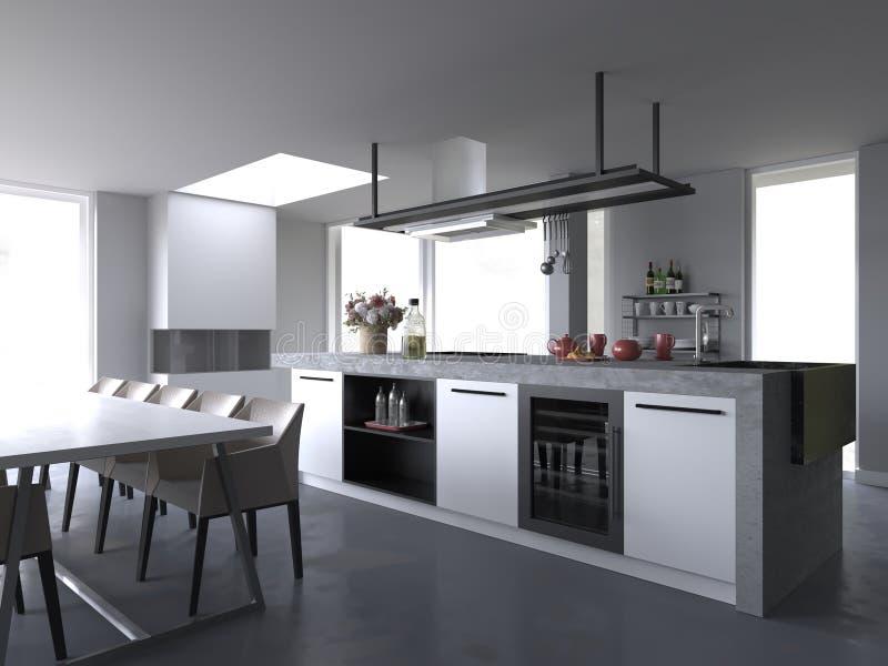 White Modern luxury kitchen interior without background. White, Modern, luxury, kitchen interior, without background, white cabinets, white table, white chairs vector illustration