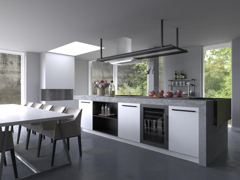 White Modern luxury kitchen interior with terrace. White, Modern, luxury, kitchen interior, without background, white cabinets, white table, white chairs, luxury royalty free illustration