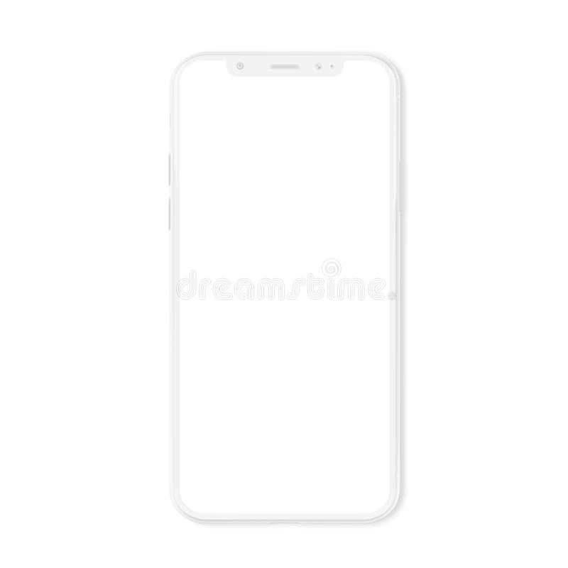 White modern smartphone mockup isolated on white 3D rendering stock illustration