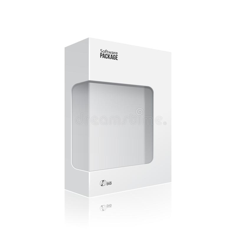 White Modern Software Product Package Box With Window For DVD Or CD Disk EPS10. White Software Product Package Box With Window For DVD Or CD Disk EPS10 stock illustration