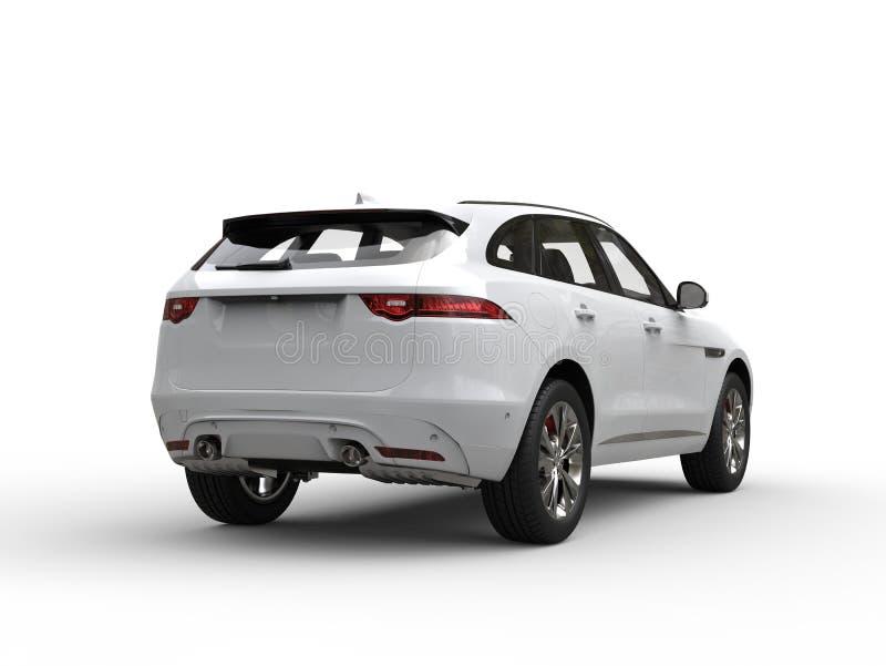 White modern SUV - rear view vector illustration