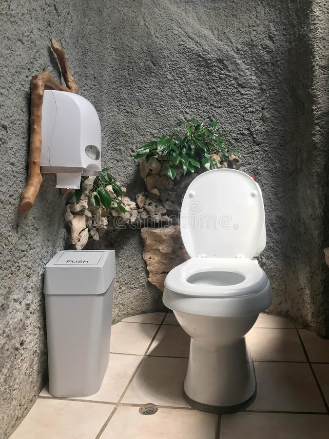 White modern toilet bowl  decorated in natural theme  concept royalty free stock photography