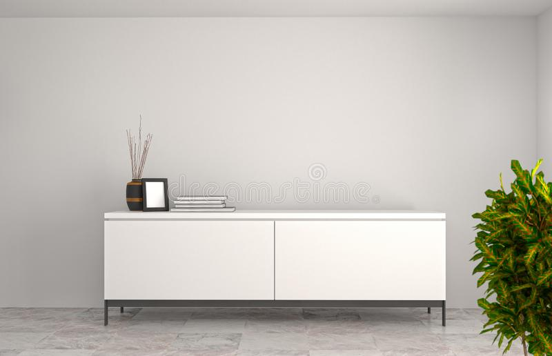 White modern Tv cabinet,empty room interior background 3d illustration home designs,room interior background,shelves and books o. N the desk in front of wall stock illustration