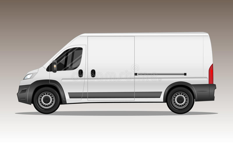 White modern van with blank space for text or logo stock illustration