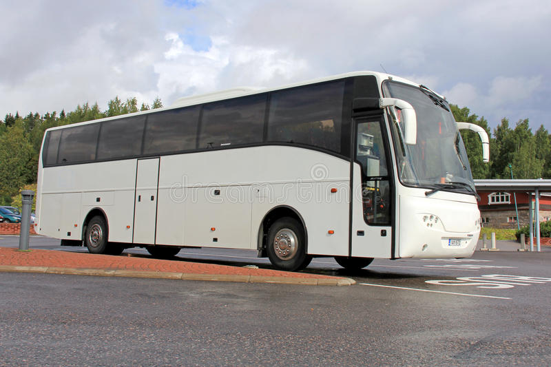 White Modern Volvo Coach Bus royalty free stock images