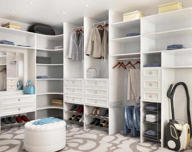 White modern wardrobe in a big house royalty free stock image