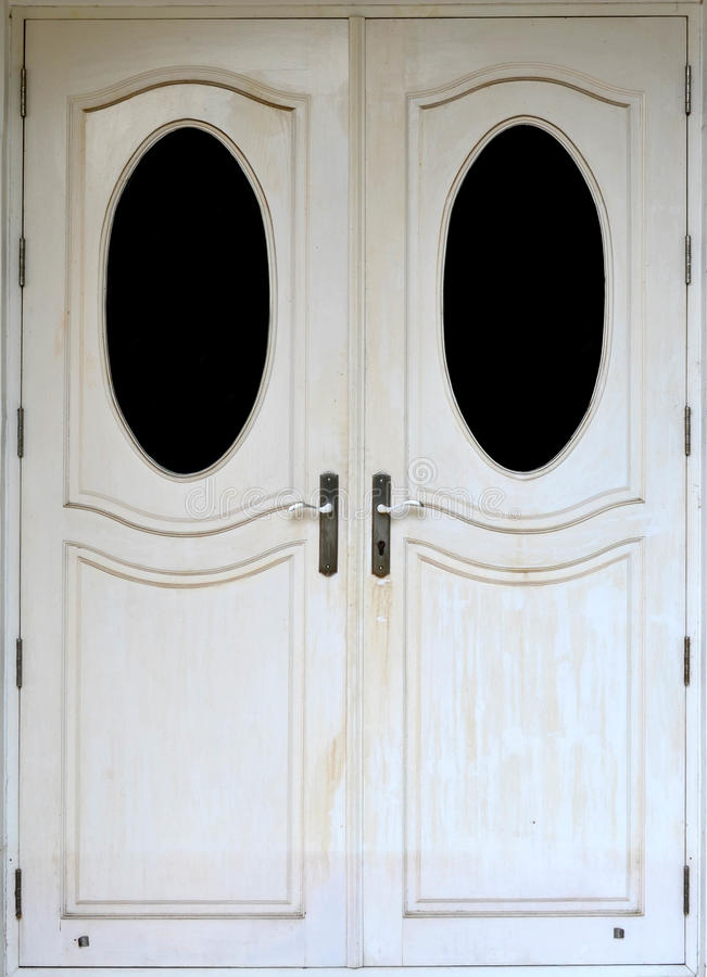 White modern wooden door stock photo
