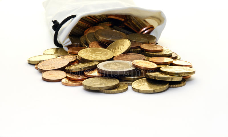 White Money Bag of Euro Coins. A faux leather, white money bag of modern Euro coins spilled out on a white surface stock images