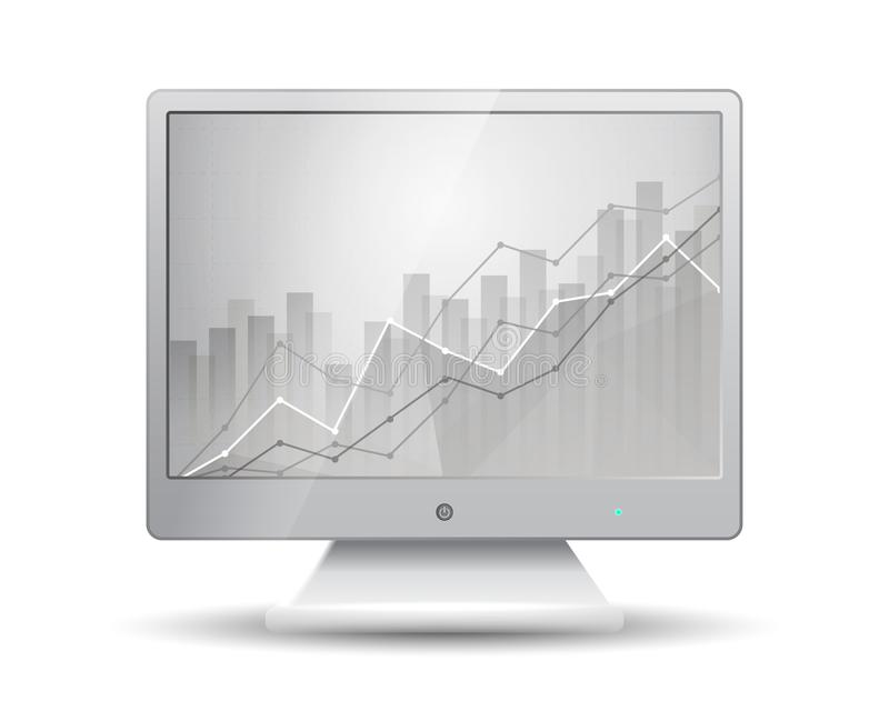 White monitor with business statistics chart showing various visualization graphs on the screen stock illustration