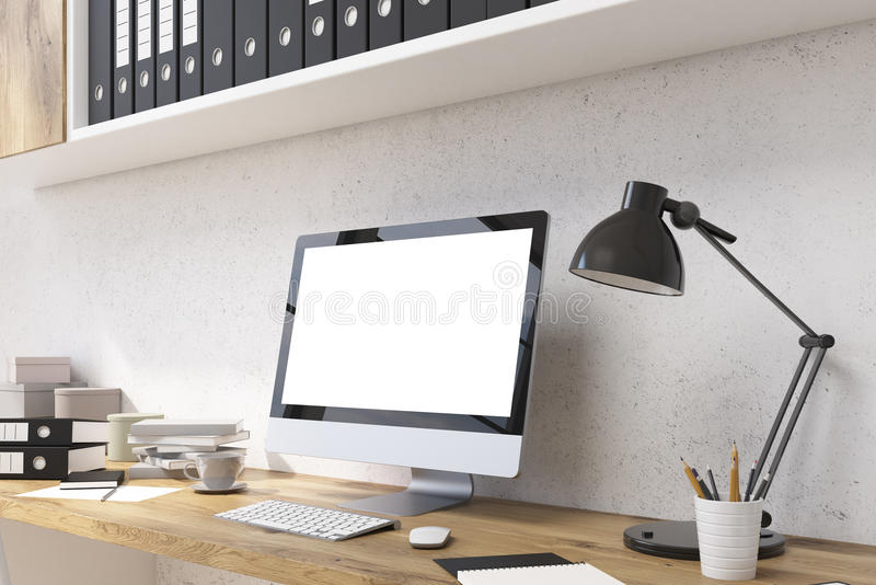 White monitor in office closeup. Closeup of blank white computer monitor on wooden office desktop with coffee cup, table lamp, document folders and other items vector illustration