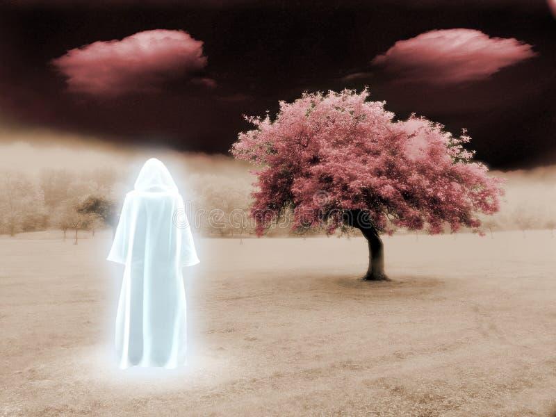 White Monk. In surreal landscape stock illustration