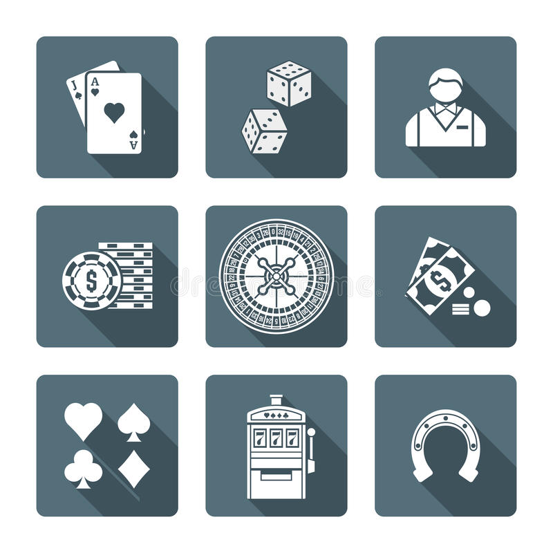 White monochrome various gambling icons collection. Vector monochrome white color flat design various gambling signs blackjack dice croupier casino tokens royalty free illustration