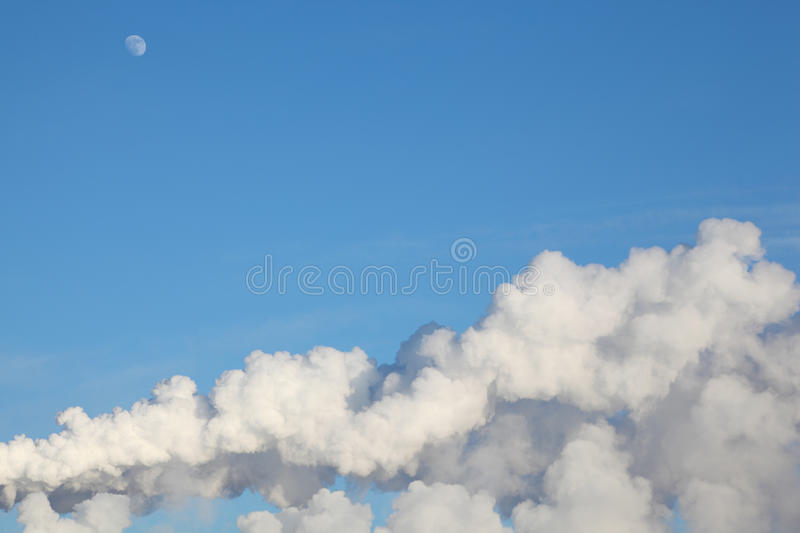 Download White Moon, Clouds And Smoke From Heat Stock Image - Image: 20698527