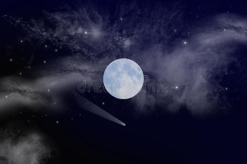 White moon with milky way in deep space royalty free stock photography