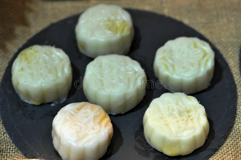 White mooncakes stock photo