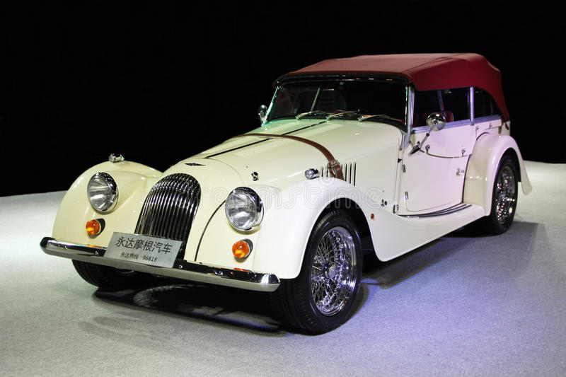 A white Morgan roadster. In 2014 Shenzhen international auto show China royalty free stock photo