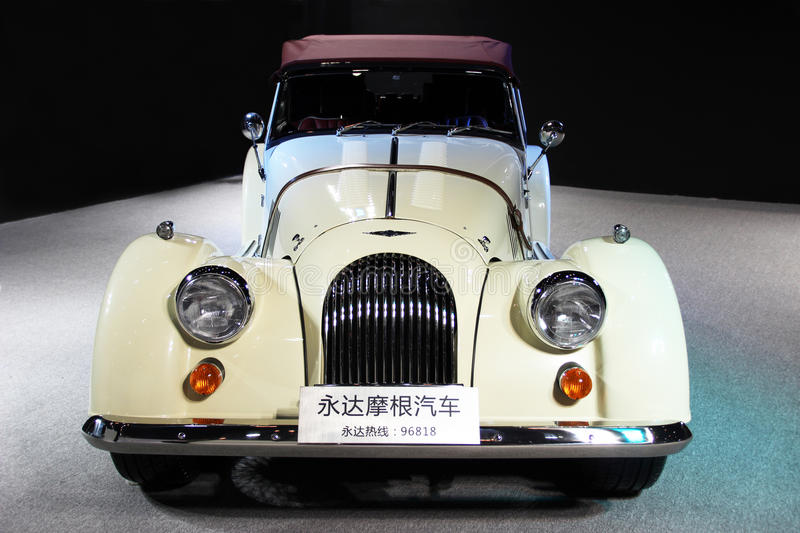 A white Morgan roadster. In 2014 Shenzhen international auto show China royalty free stock photos