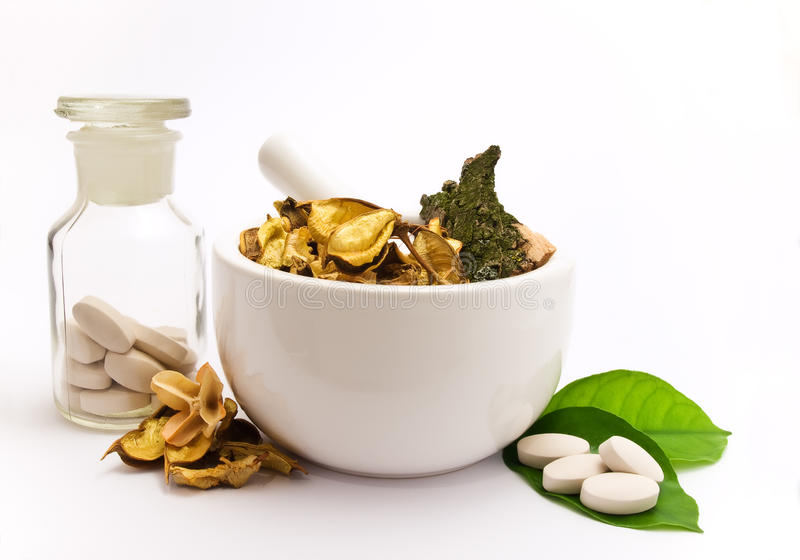 White mortar and pestle royalty free stock image