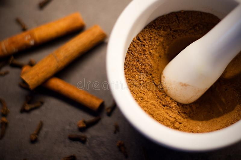 White mortar and pestle with homemade prepared pumpkin spice royalty free stock image
