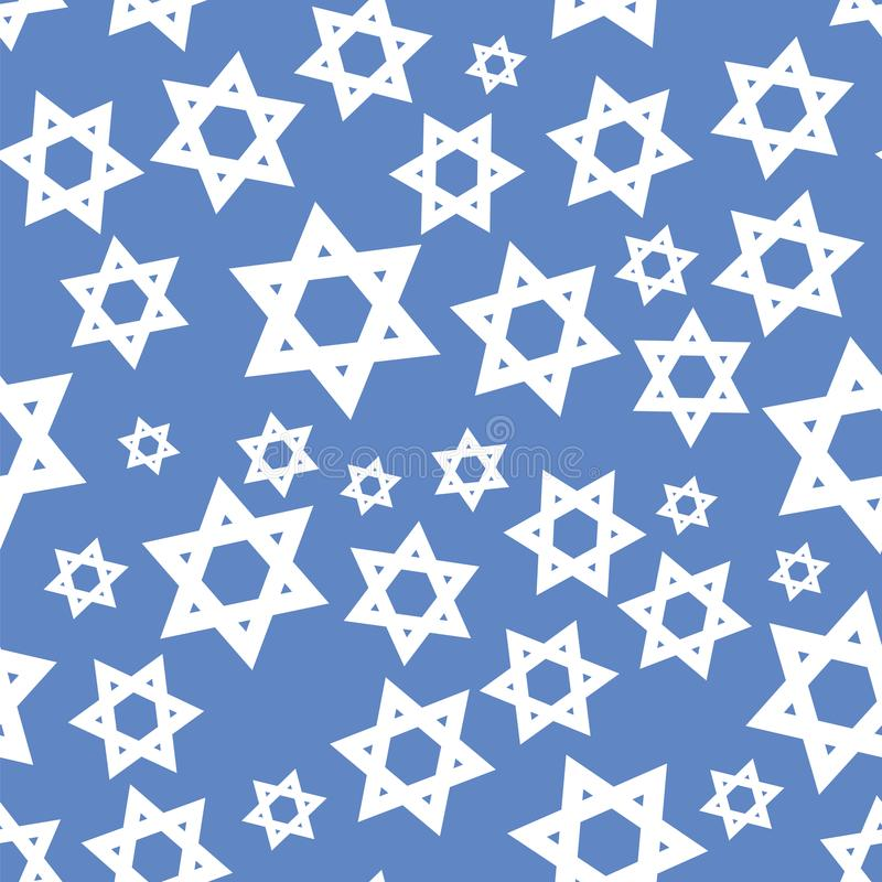White Mosaic Stars of David Seamless Pattern royalty free illustration