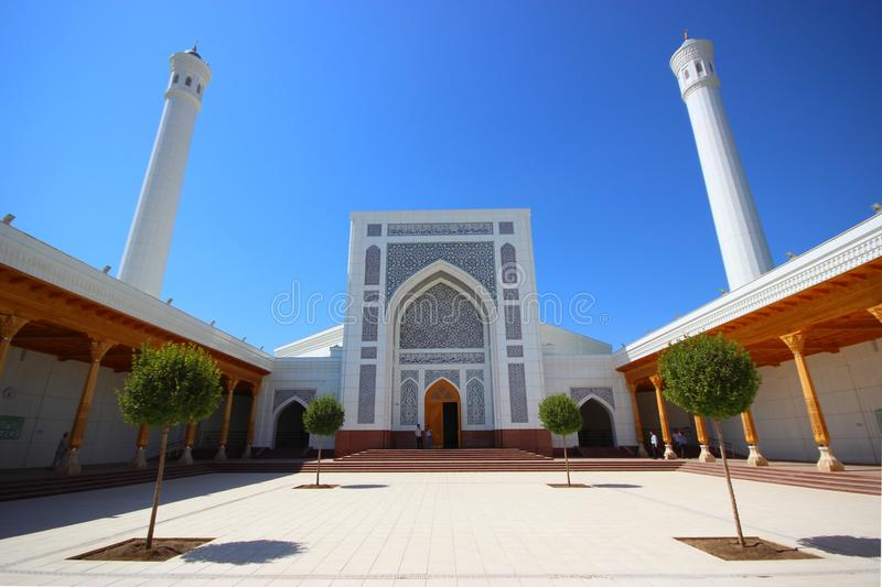 The white mosque Kukcha in Tashkent (Uzbekistan). Courtyard of the white mosque of Tashkent in Uzbekistan stock photo