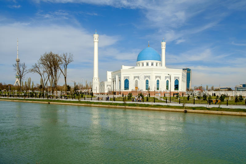 White mosque Minor in Tashkent, Uzbekistan. White mosque Minor in Tashkent royalty free stock photography