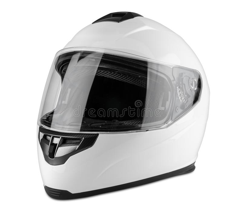 White motorcycle carbon integral crash helmet isolated white background. motorsport car kart racing transportation safety concept royalty free stock photo