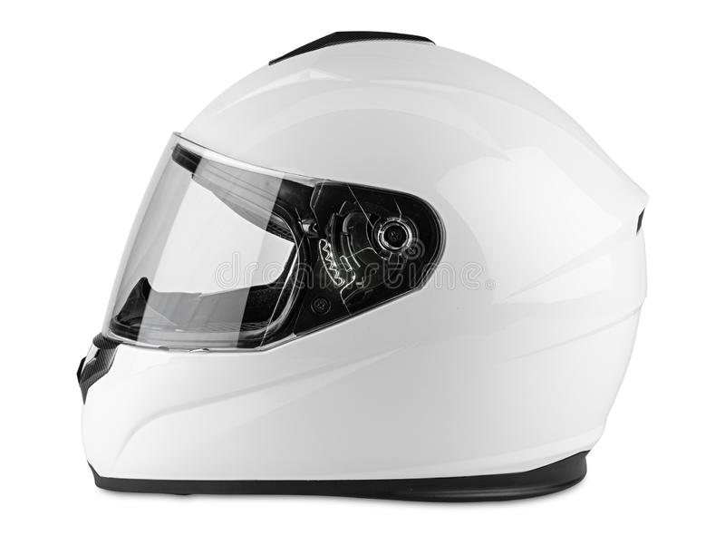 White motorcycle carbon integral crash helmet isolated white background. motorsport car kart racing transportation safety concept. White motorcycle carbon royalty free stock images