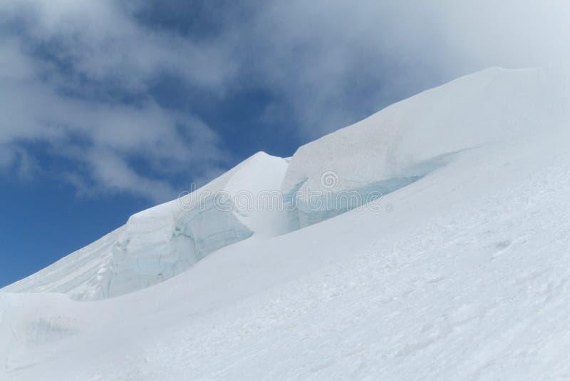 White mountain snow. With cracks royalty free stock photography