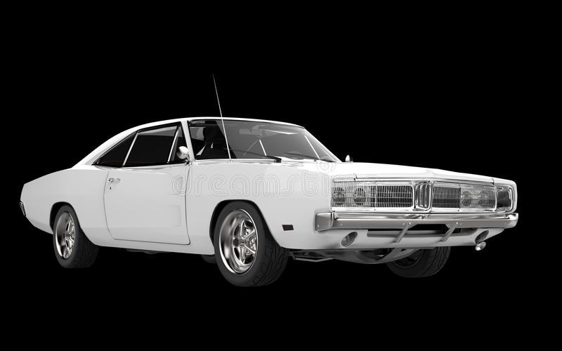 White muscle car - front side view stock photography