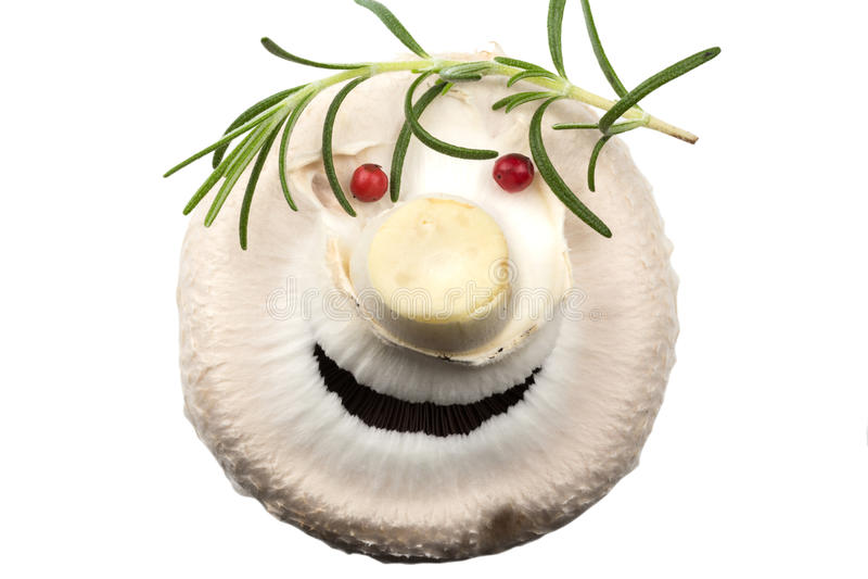 White mushroom in a funny man stock photos