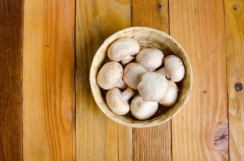White mushrooms. In basket stock photos