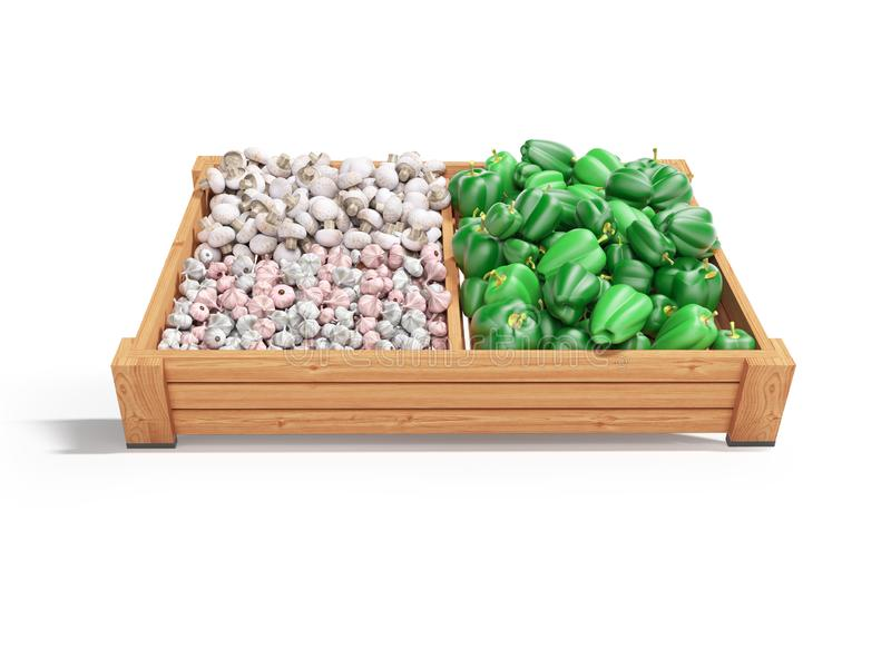White mushrooms garlic green peppers on wooden tray 3d render on white background with shadow. White mushrooms garlic green peppers on wooden tray 3d render on vector illustration