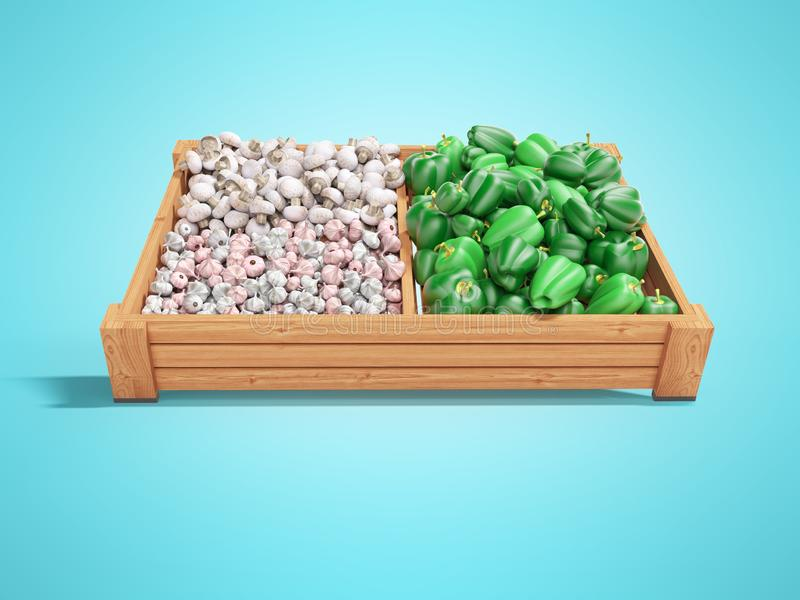 White mushrooms garlic green peppers on wooden tray 3d render on blue background with shadow. White mushrooms garlic green peppers on wooden tray 3d render on stock illustration