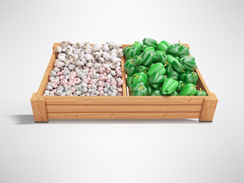 White mushrooms garlic green peppers on wooden tray 3d render on gray background with shadow stock illustration