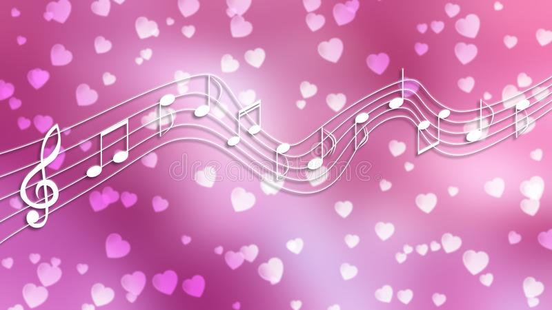 White Music Notes and Hearts in Blurred Pink Background. Illustration of white music notes flowing on curved stave in blurry pink background with floating hearts stock illustration